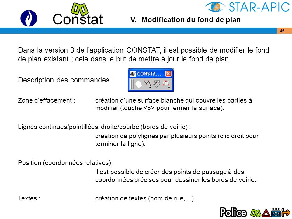 V. Modification du fond de plan
