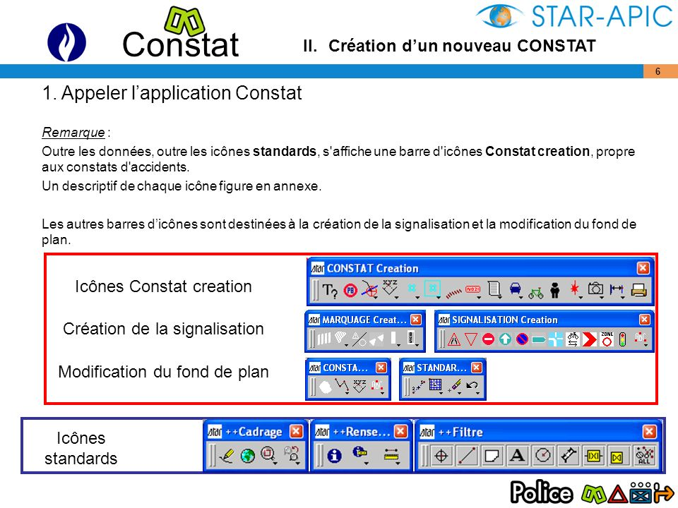 1. Appeler l'application Constat