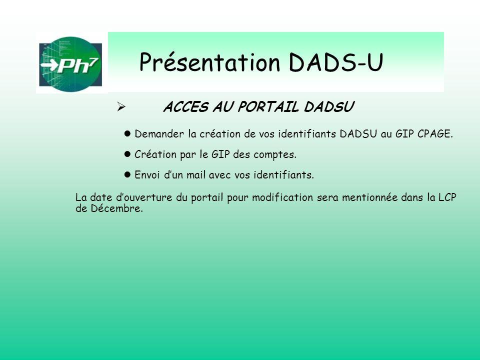 Présentation DADS-U ACCES AU PORTAIL DADSU