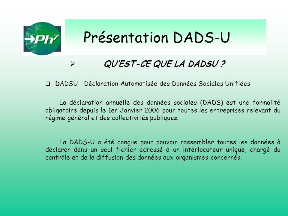 Présentation DADS-U QU'EST-CE QUE LA DADSU