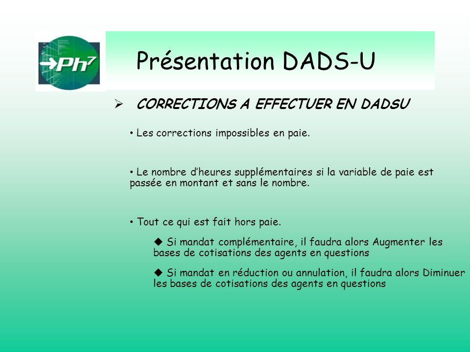 Présentation DADS-U CORRECTIONS A EFFECTUER EN DADSU