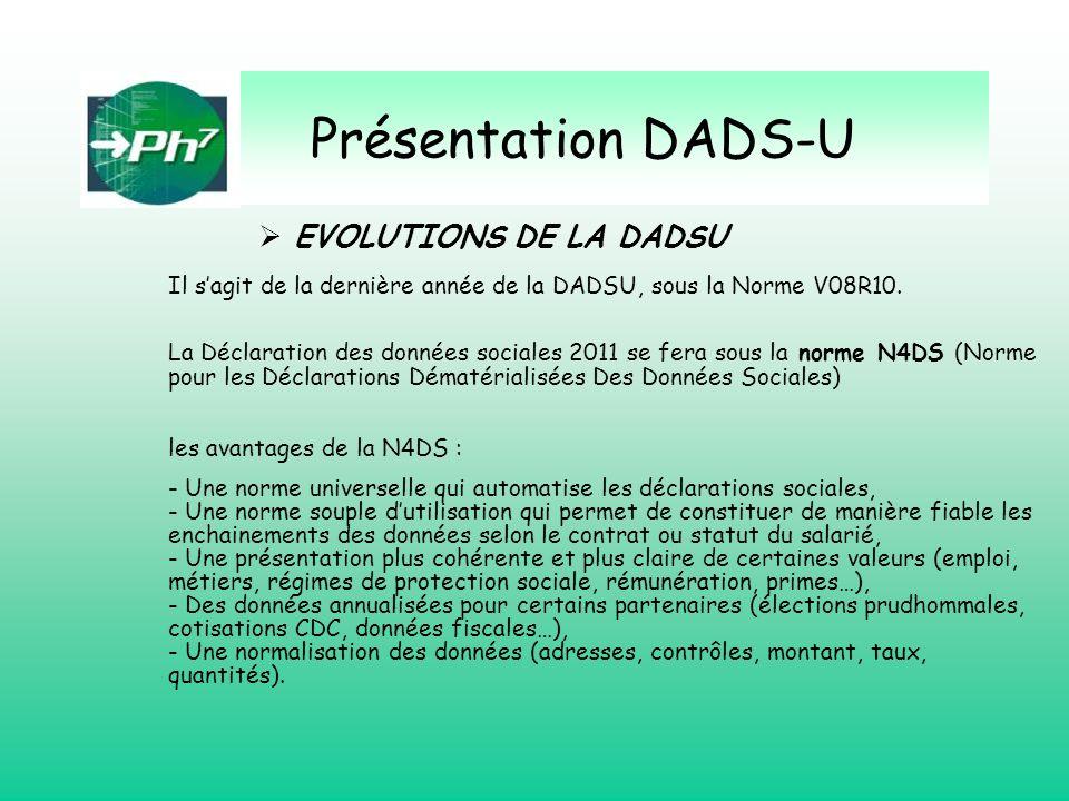 Présentation DADS-U EVOLUTIONS DE LA DADSU