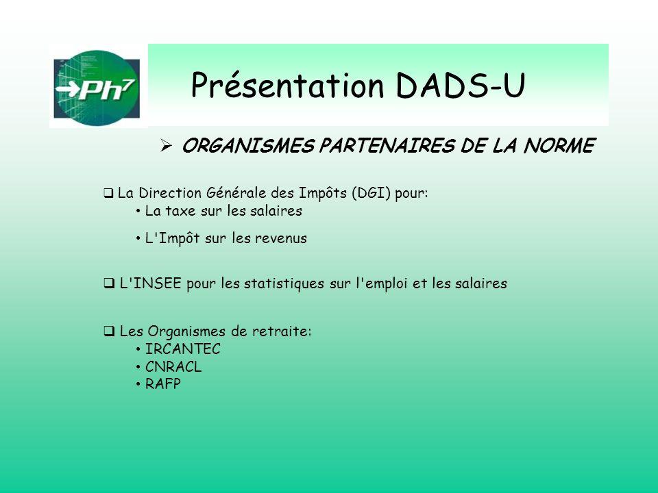 Présentation DADS-U ORGANISMES PARTENAIRES DE LA NORME
