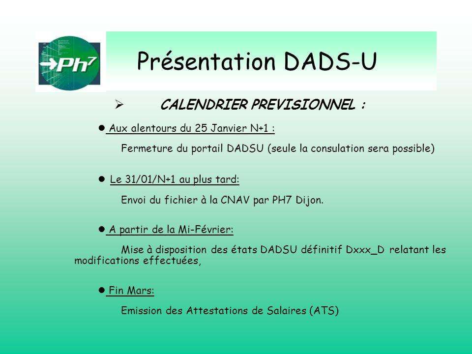 Présentation DADS-U CALENDRIER PREVISIONNEL :