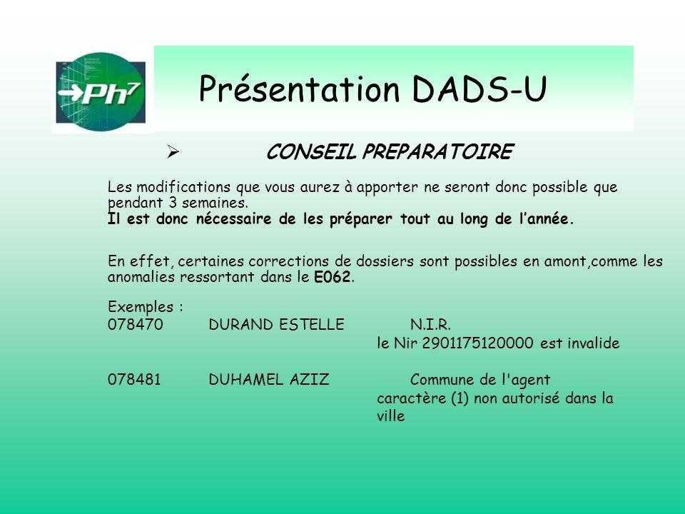 Présentation DADS-U CONSEIL PREPARATOIRE