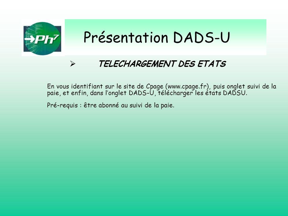 Présentation DADS-U TELECHARGEMENT DES ETATS TELECHARGEMENT DES ETATS