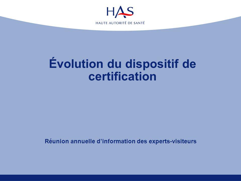 Évolution du dispositif de certification