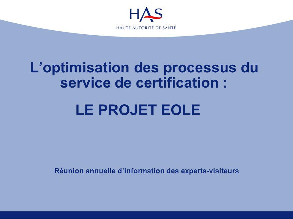 L'optimisation des processus du service de certification :