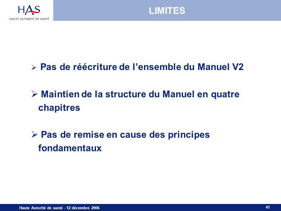 Maintien de la structure du Manuel en quatre chapitres