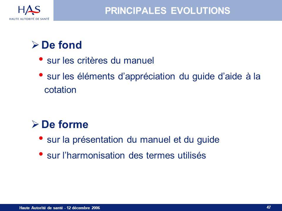 PRINCIPALES EVOLUTIONS