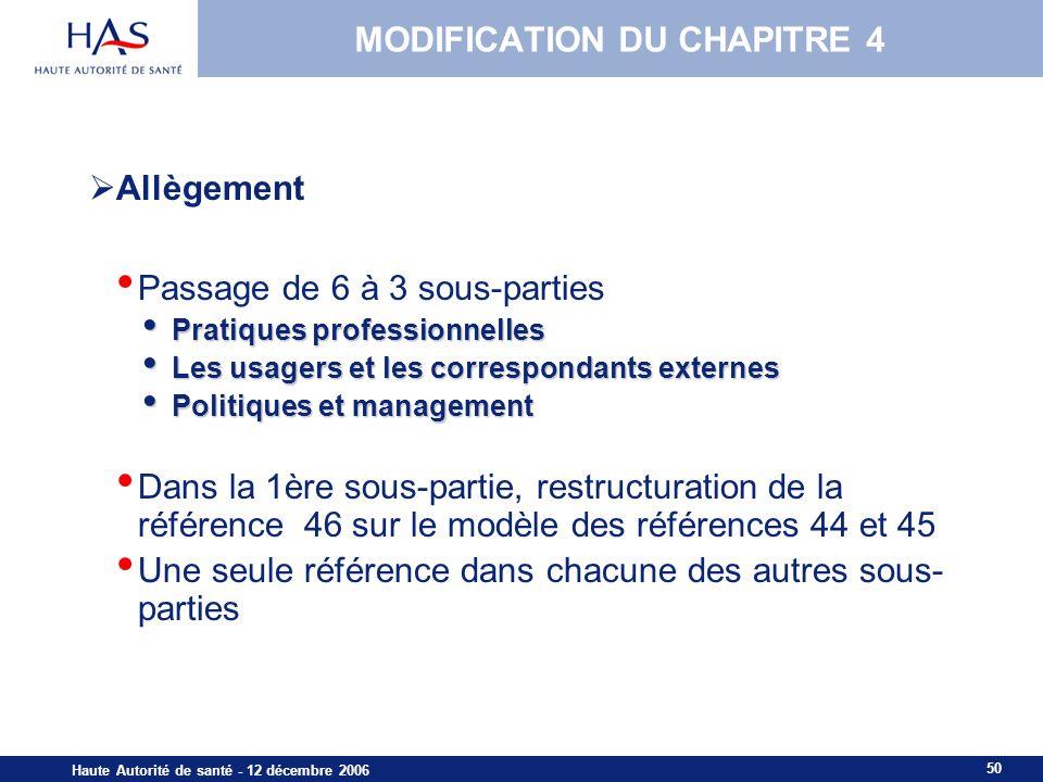 MODIFICATION DU CHAPITRE 4