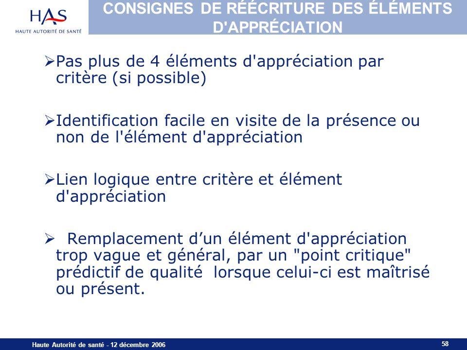 CONSIGNES DE RÉÉCRITURE DES ÉLÉMENTS D APPRÉCIATION