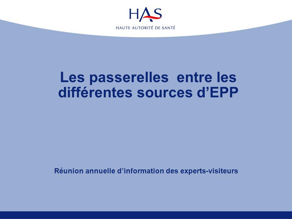 Les passerelles entre les différentes sources d'EPP