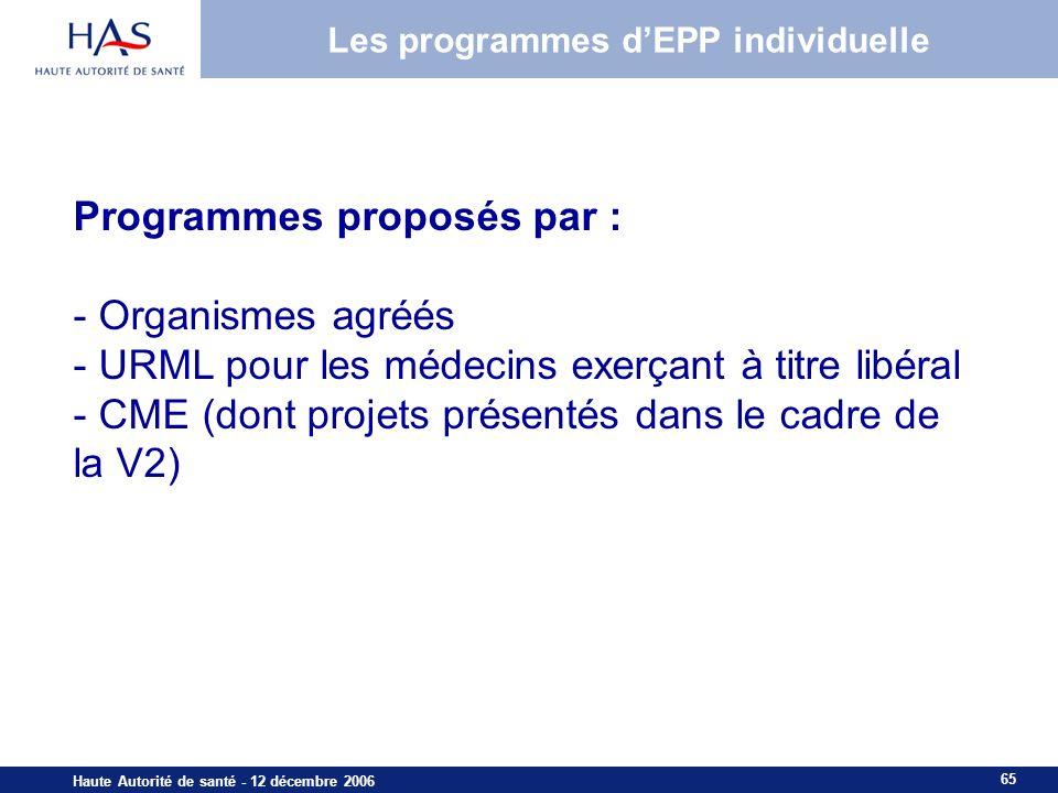 Les programmes d'EPP individuelle