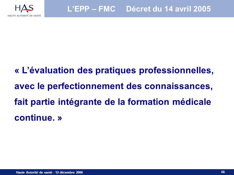 L'EPP – FMC Décret du 14 avril 2005