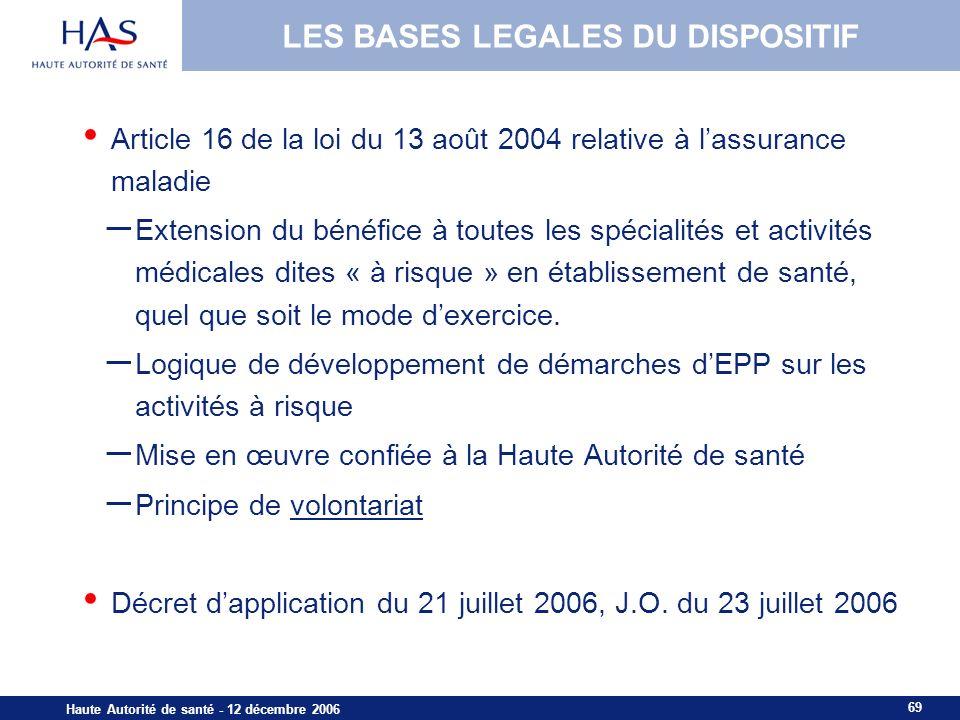 LES BASES LEGALES DU DISPOSITIF