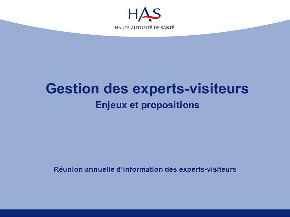Gestion des experts-visiteurs Enjeux et propositions