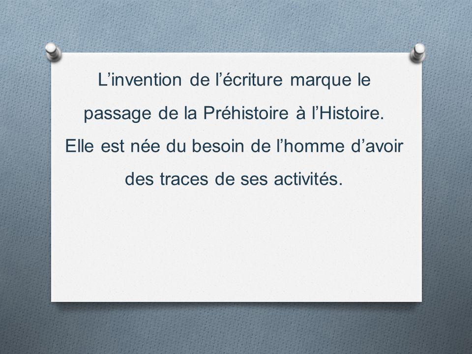 L'invention de l'écriture marque le passage de la Préhistoire à l'Histoire.