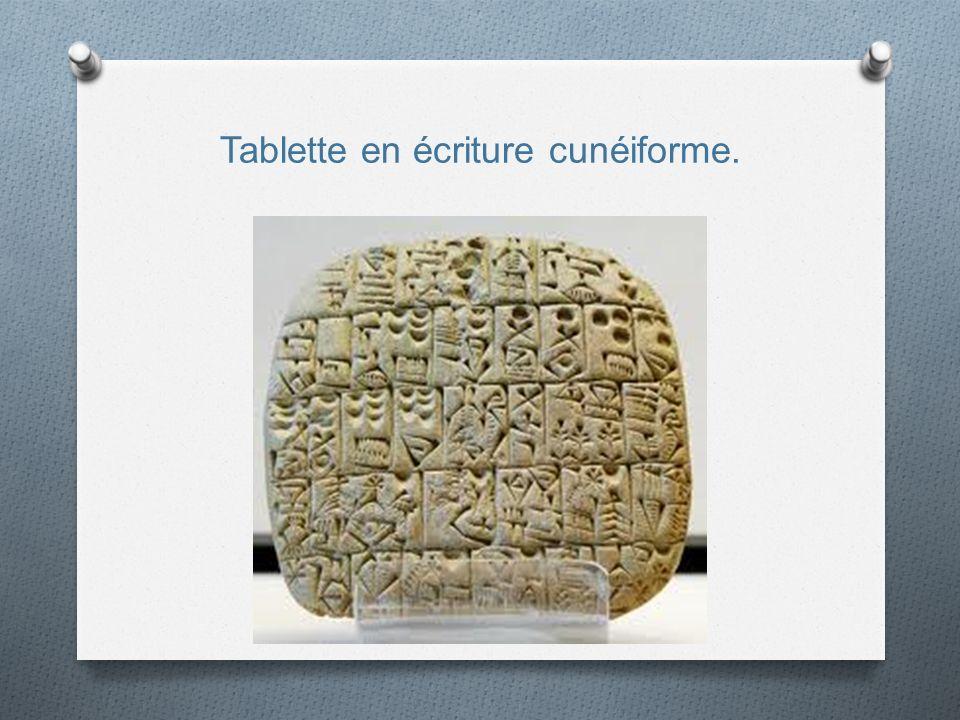Tablette en écriture cunéiforme.