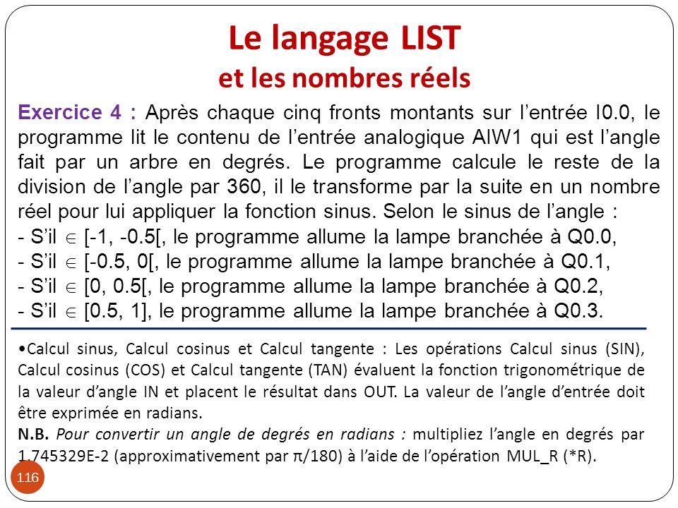 Le langage LIST et les nombres réels