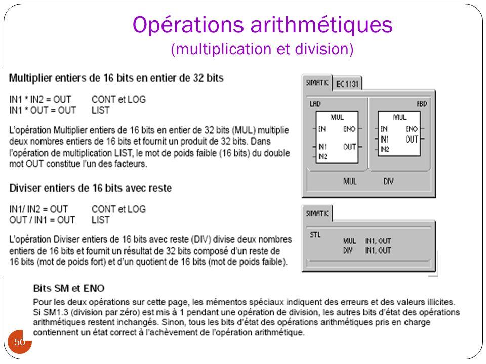 Opérations arithmétiques (multiplication et division)