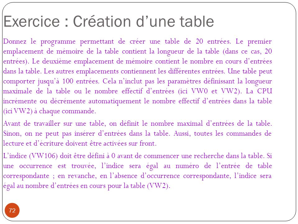Exercice : Création d'une table
