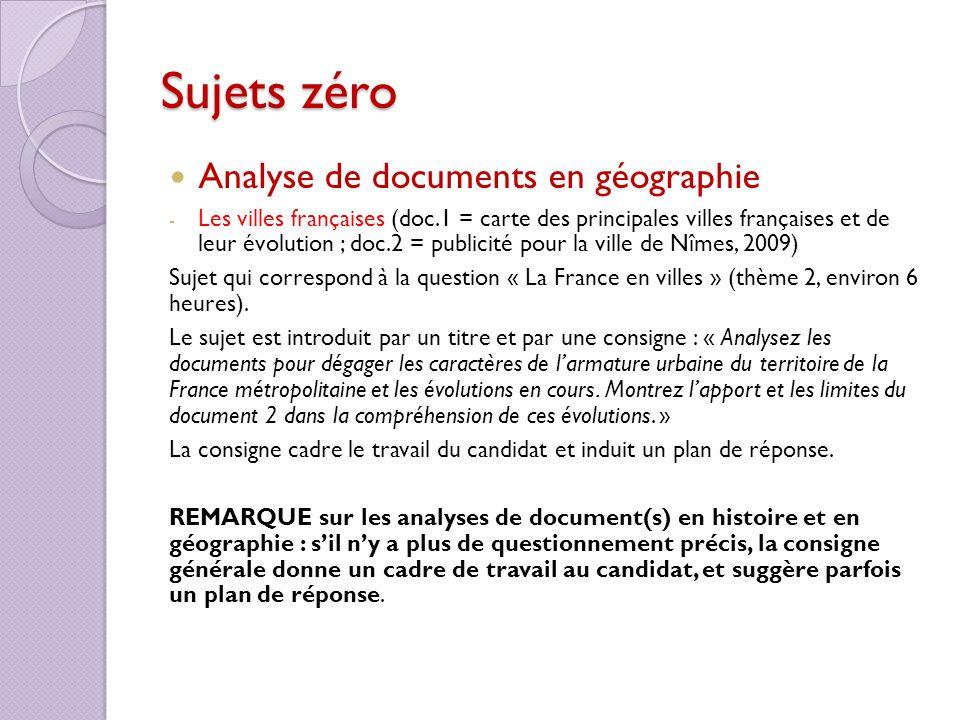 Sujets zéro Analyse de documents en géographie