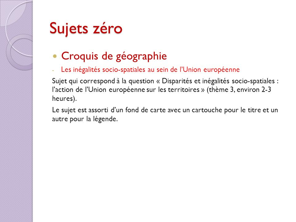 Sujets zéro Croquis de géographie