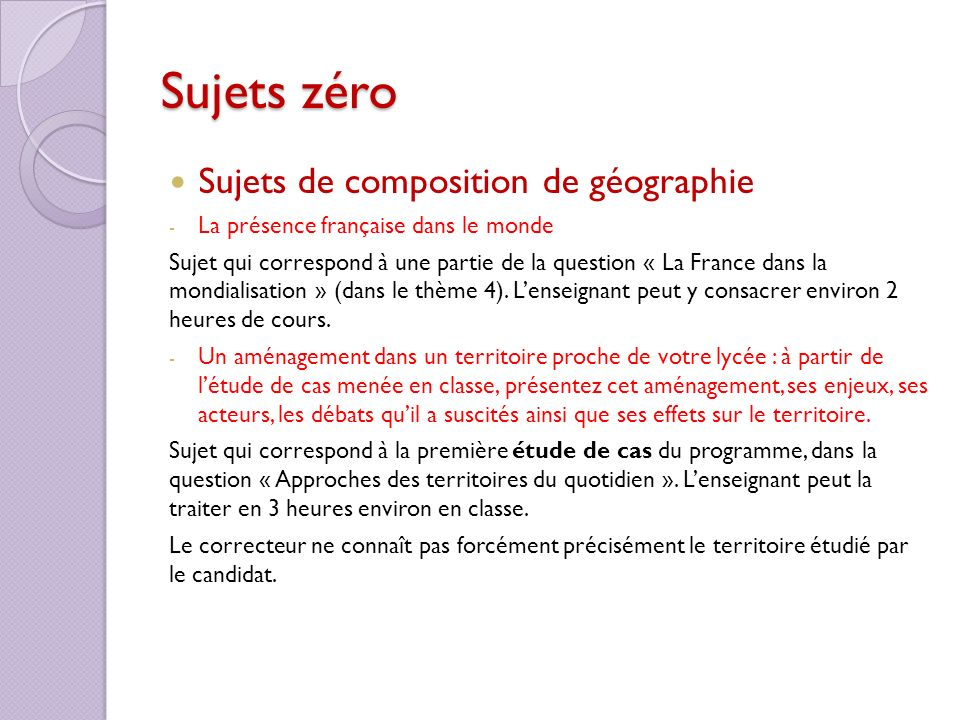 Sujets zéro Sujets de composition de géographie