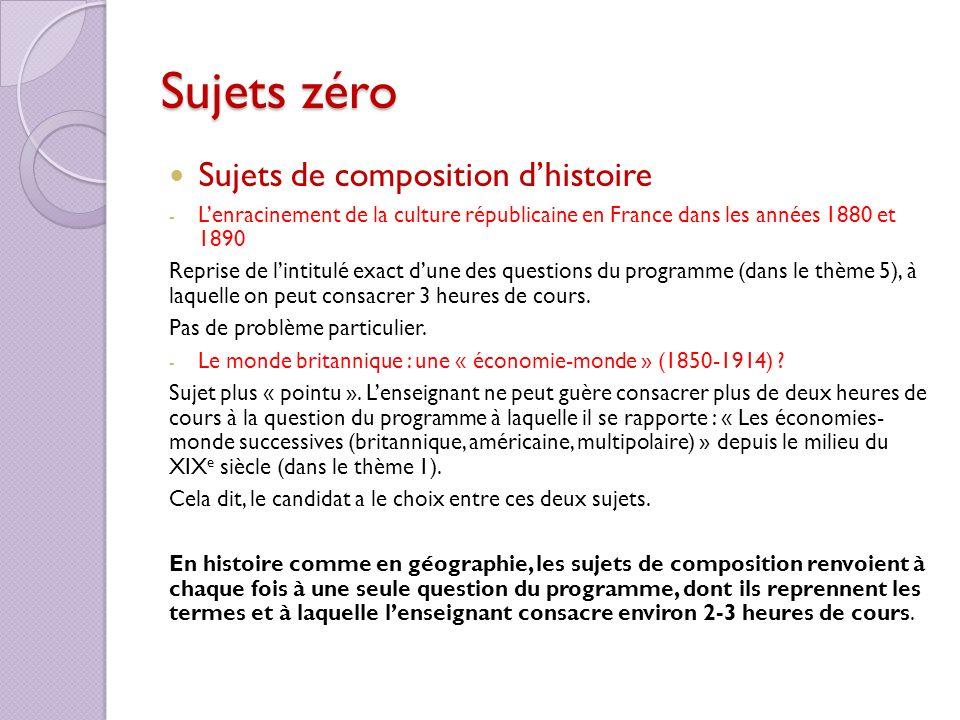 Sujets zéro Sujets de composition d'histoire