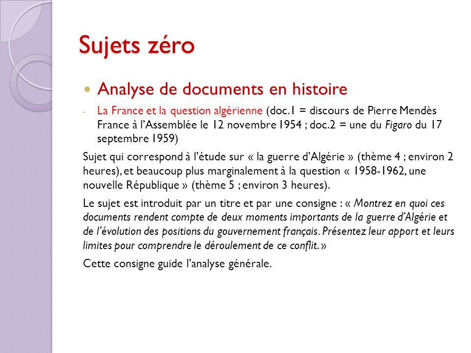 Sujets zéro Analyse de documents en histoire