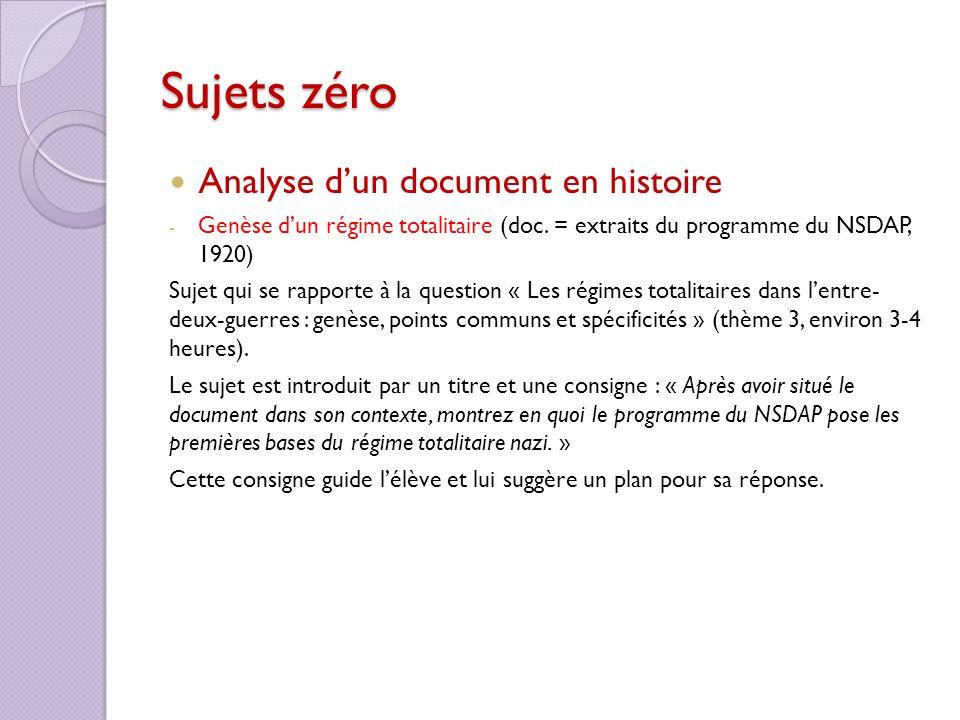 Sujets zéro Analyse d'un document en histoire