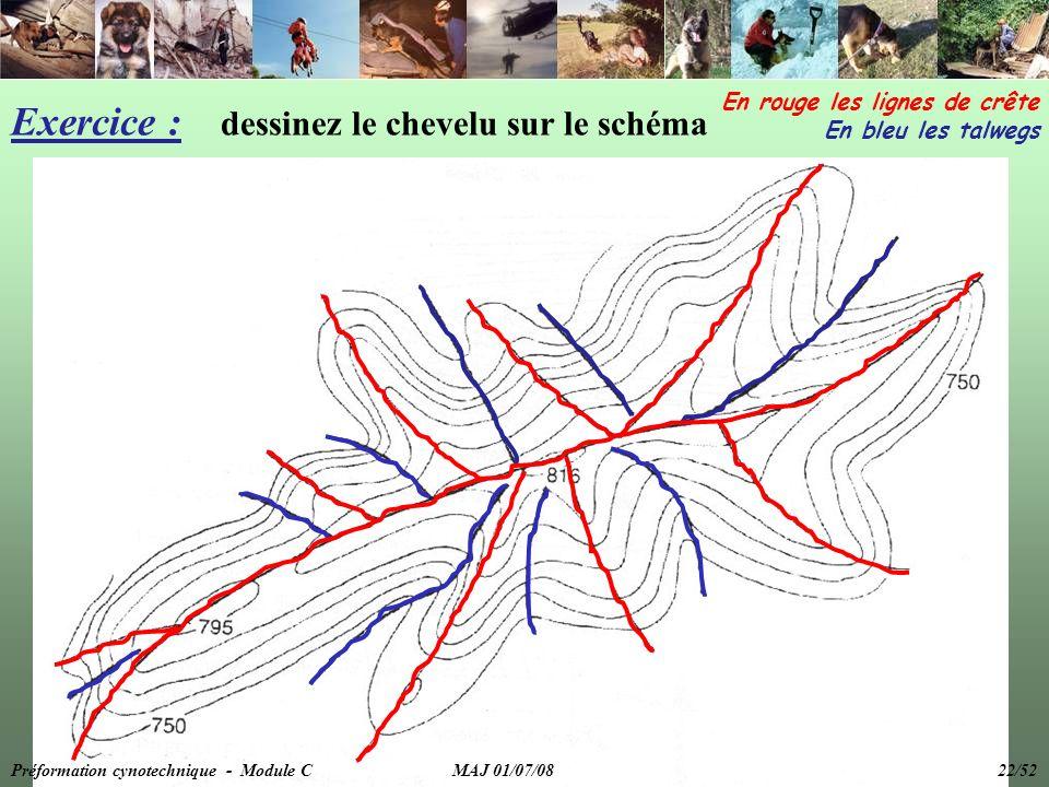 Exercice : dessinez le chevelu sur le schéma