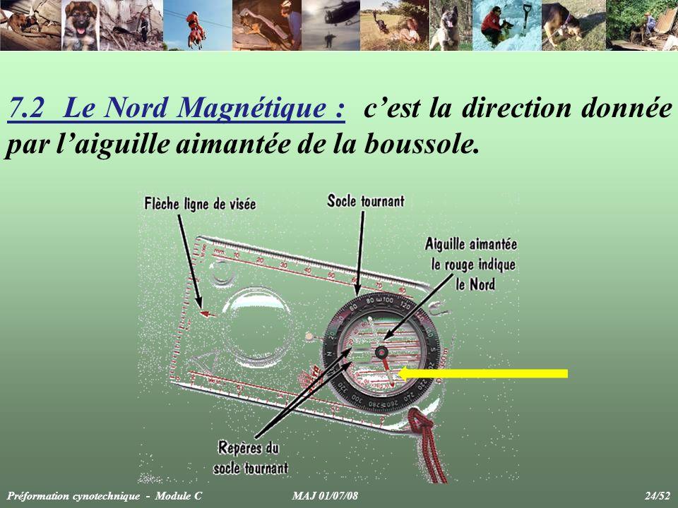 7.2 Le Nord Magnétique : c'est la direction donnée par l'aiguille aimantée de la boussole.