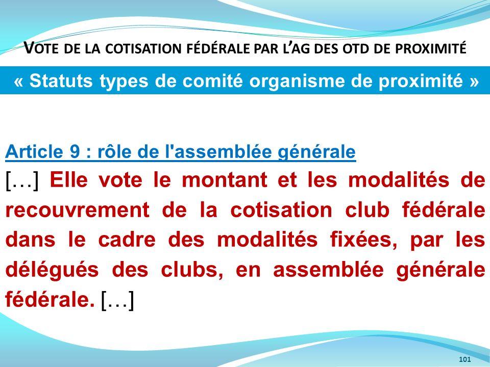 Vote de la cotisation fédérale par l'ag des otd de proximité