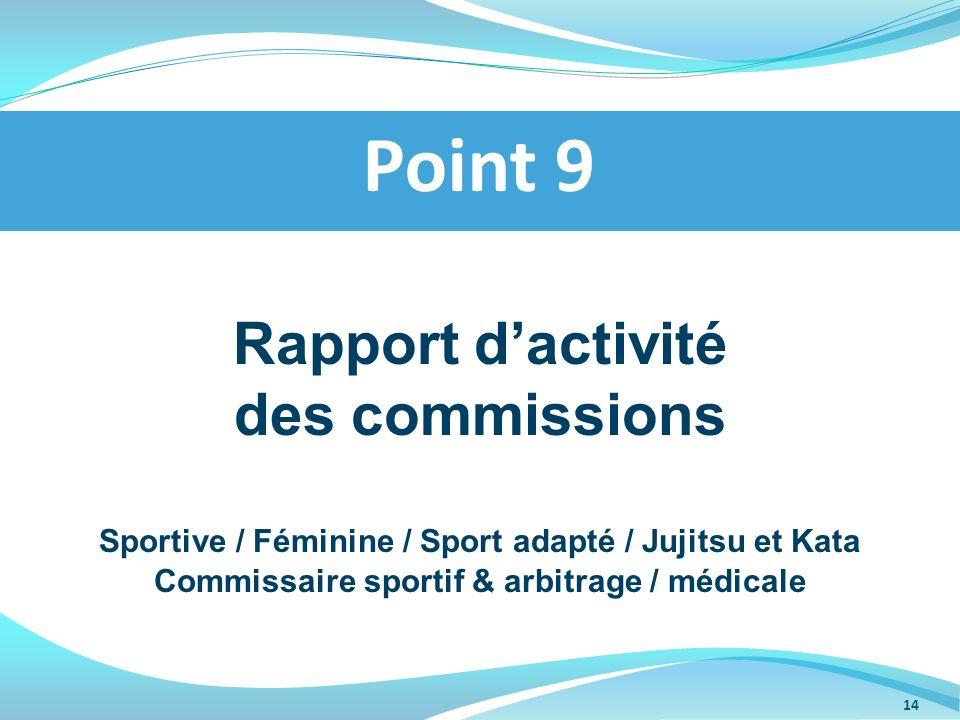 Point 9 Rapport d'activité des commissions