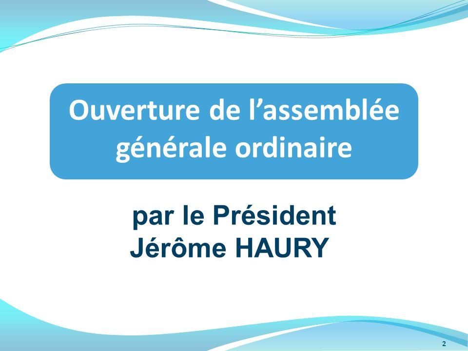 Ouverture de l'assemblée générale ordinaire