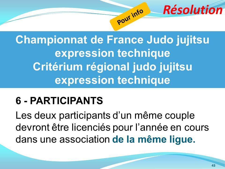 Résolution Pour info. Championnat de France Judo jujitsu expression technique Critérium régional judo jujitsu expression technique.
