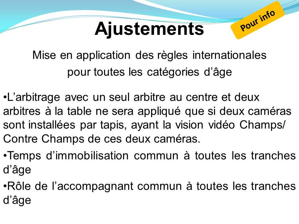 Ajustements Mise en application des règles internationales