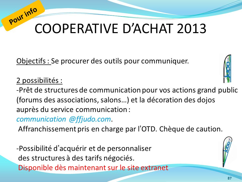 COOPERATIVE D'ACHAT 2013 Pour info