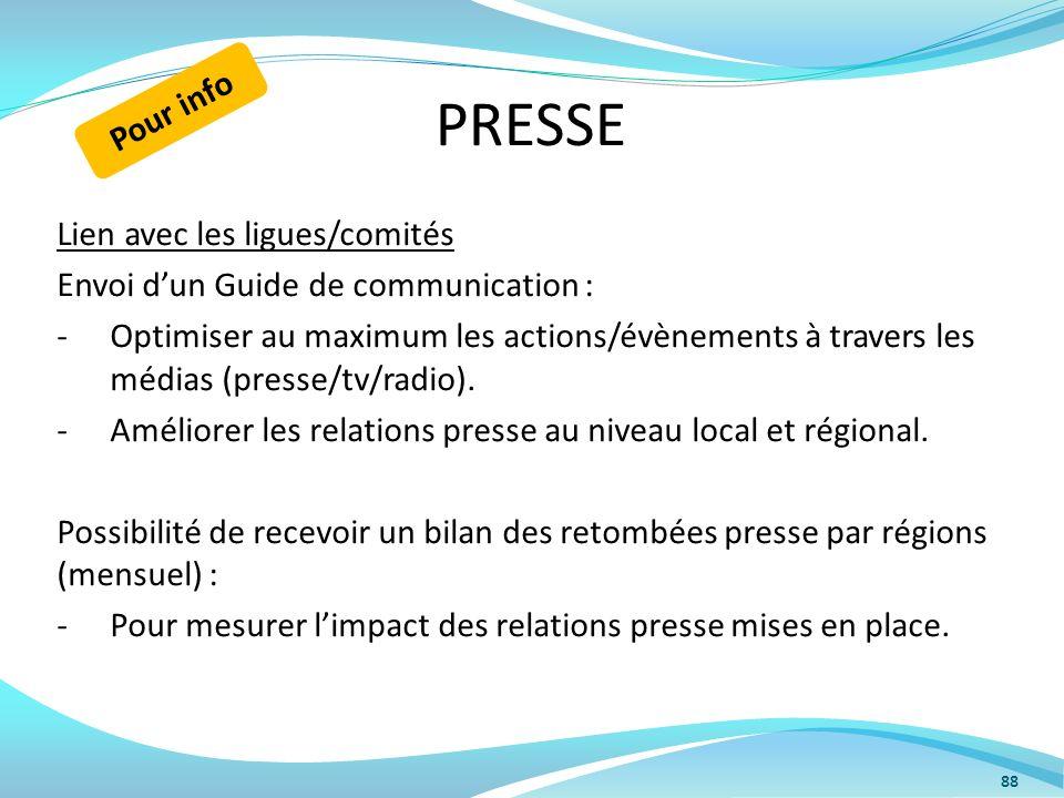 PRESSE Pour info Lien avec les ligues/comités