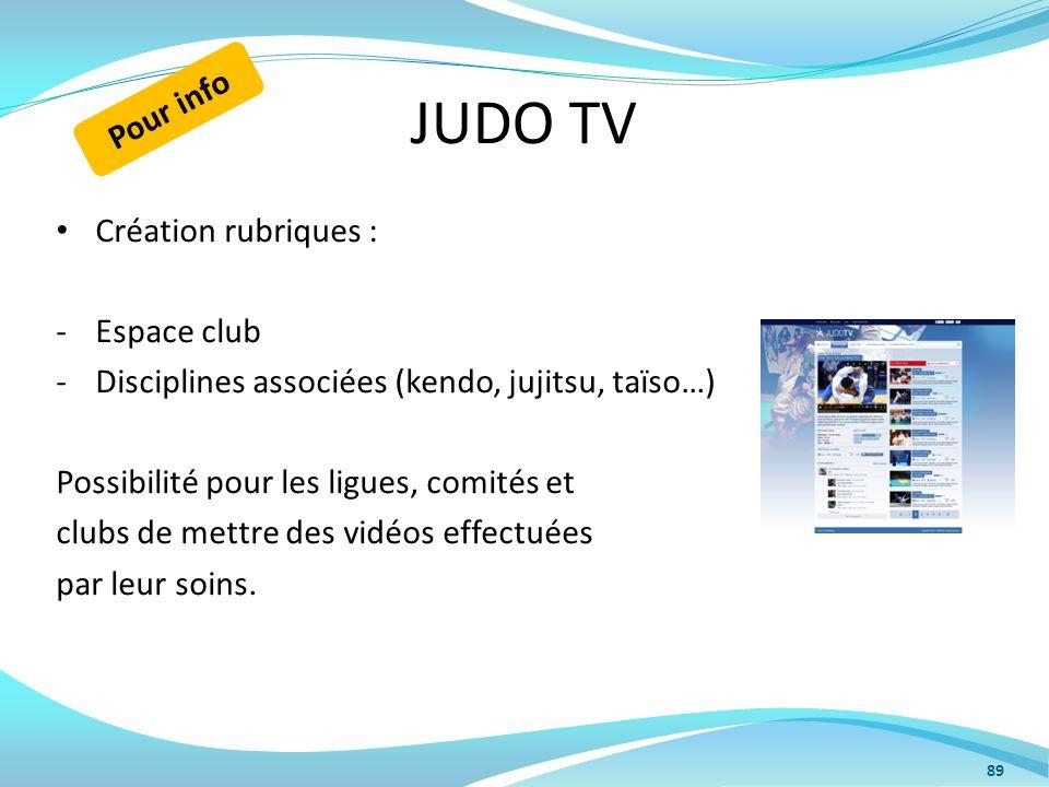 JUDO TV Pour info Création rubriques : Espace club