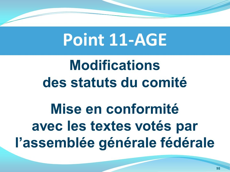 Point 11-AGE Modifications des statuts du comité