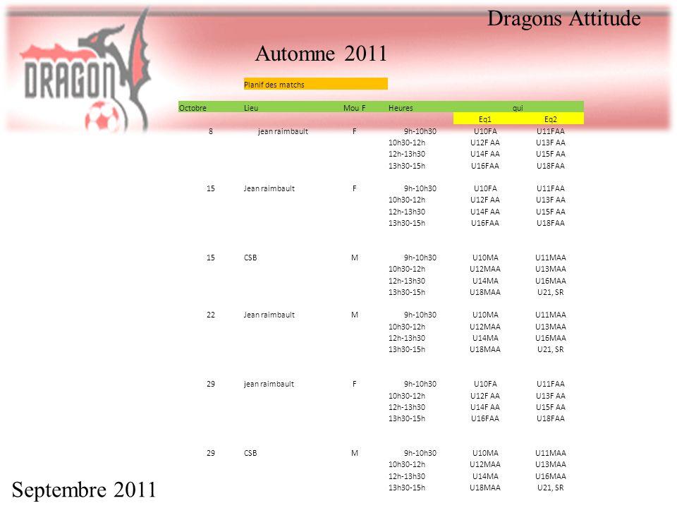 Dragons Attitude Automne 2011 Septembre 2011 Planif des matchs Octobre