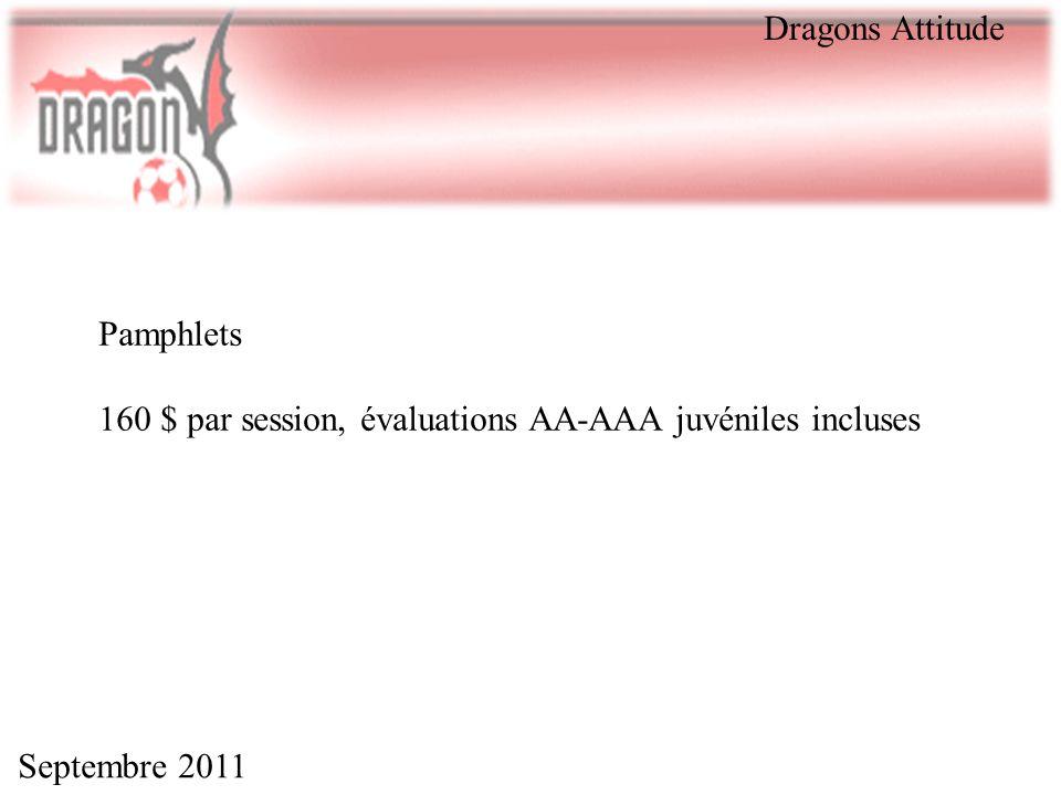 Dragons Attitude Pamphlets 160 $ par session, évaluations AA-AAA juvéniles incluses Septembre 2011