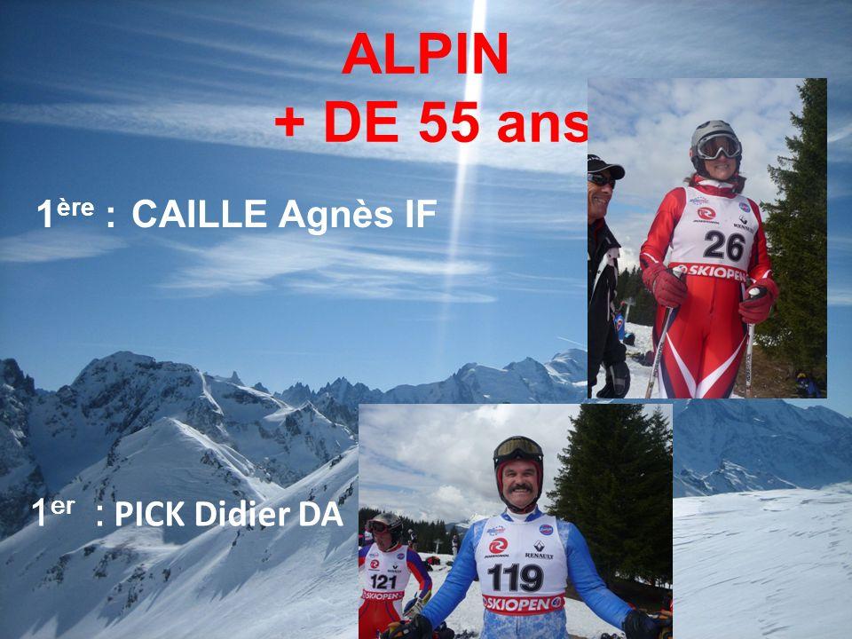 ALPIN + DE 55 ans 1ère : CAILLE Agnès IF 1er : PICK Didier DA 10