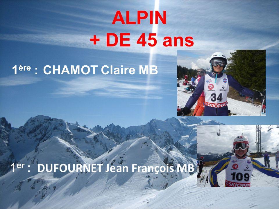 ALPIN + DE 45 ans 1ère : CHAMOT Claire MB