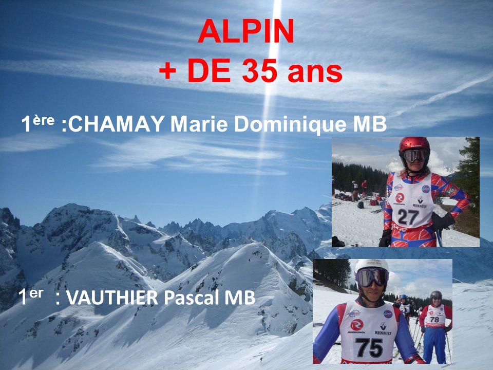 ALPIN + DE 35 ans 1ère :CHAMAY Marie Dominique MB