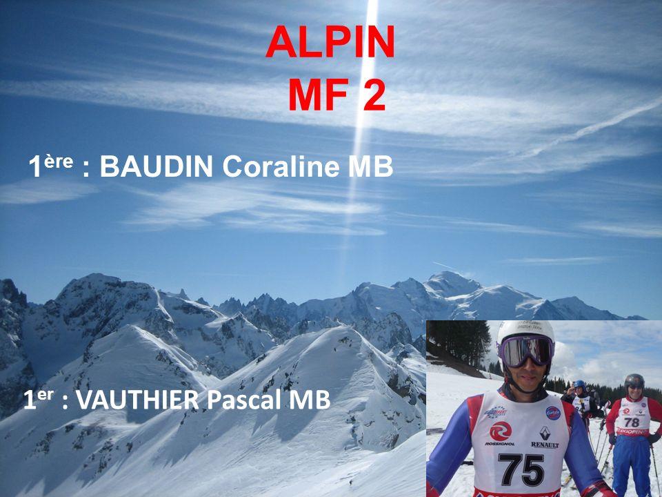 ALPIN MF 2 1ère : BAUDIN Coraline MB 1er : VAUTHIER Pascal MB 14
