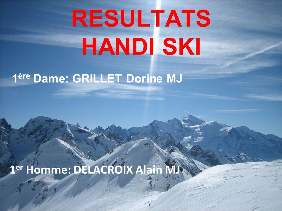 RESULTATS HANDI SKI 1er Homme: DELACROIX Alain MJ